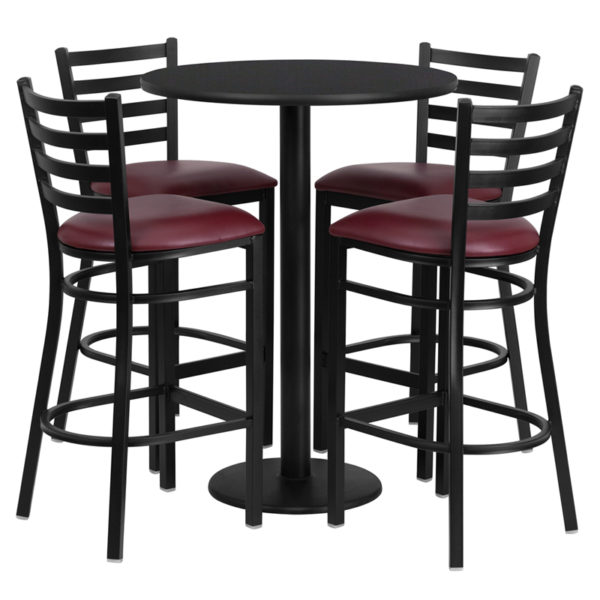 Lowest Price 30'' Round Black Laminate Table Set with Round Base and 4 Ladder Back Metal Barstools - Burgundy Vinyl Seat