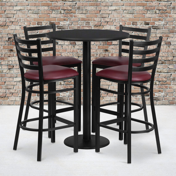 Wholesale 30'' Round Black Laminate Table Set with Round Base and 4 Ladder Back Metal Barstools - Burgundy Vinyl Seat