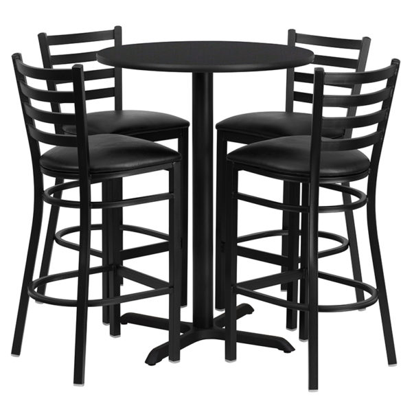 Lowest Price 30'' Round Black Laminate Table Set with X-Base and 4 Ladder Back Metal Barstools - Black Vinyl Seat
