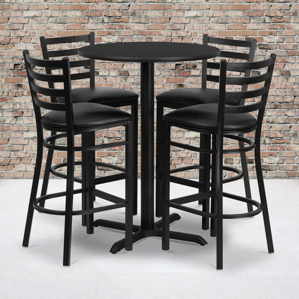 Wholesale 30'' Round Black Laminate Table Set with X-Base and 4 Ladder Back Metal Barstools - Black Vinyl Seat