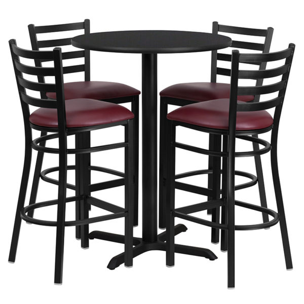 Lowest Price 30'' Round Black Laminate Table Set with X-Base and 4 Ladder Back Metal Barstools - Burgundy Vinyl Seat