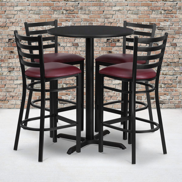 Wholesale 30'' Round Black Laminate Table Set with X-Base and 4 Ladder Back Metal Barstools - Burgundy Vinyl Seat