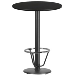 Wholesale 30'' Round Black Laminate Table Top with 18'' Round Bar Height Table Base and Foot Ring