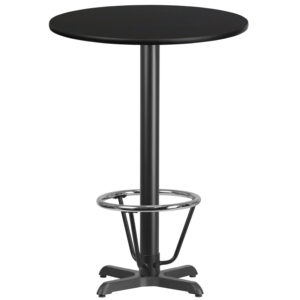 Wholesale 30'' Round Black Laminate Table Top with 22'' x 22'' Bar Height Table Base and Foot Ring