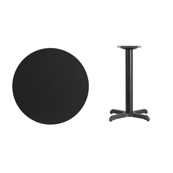 Lowest Price 30'' Round Black Laminate Table Top with 22'' x 22'' Table Height Base
