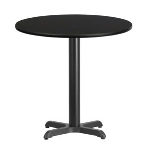 Wholesale 30'' Round Black Laminate Table Top with 22'' x 22'' Table Height Base