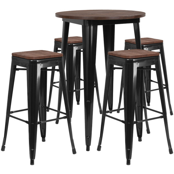 """Wholesale 30"""" Round Black Metal Bar Table Set with Wood Top and 4 Backless Stools"""