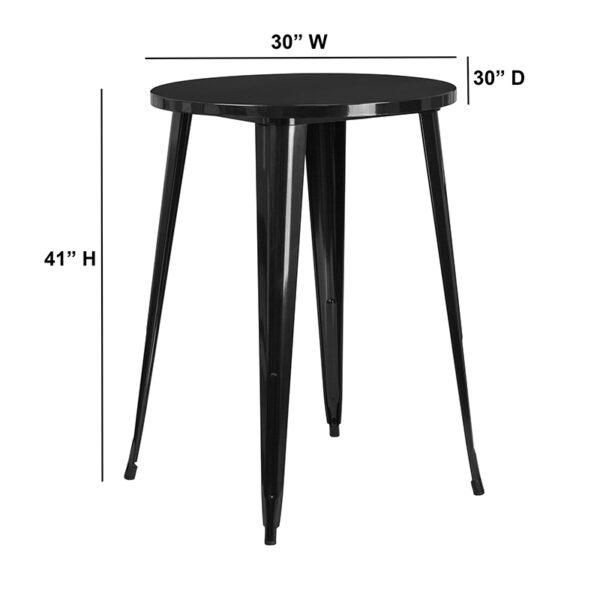Lowest Price 30'' Round Black Metal Indoor-Outdoor Bar Height Table