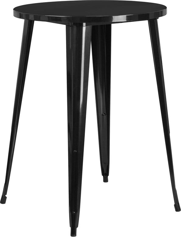 Wholesale 30'' Round Black Metal Indoor-Outdoor Bar Height Table