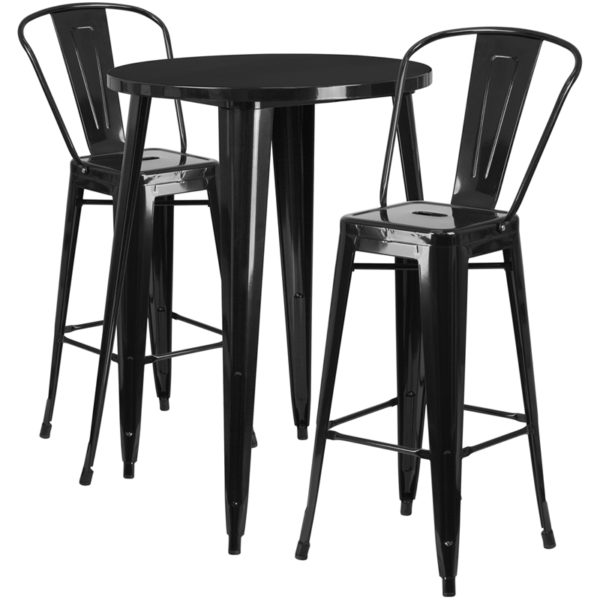 Lowest Price 30'' Round Black Metal Indoor-Outdoor Bar Table Set with 2 Cafe Stools