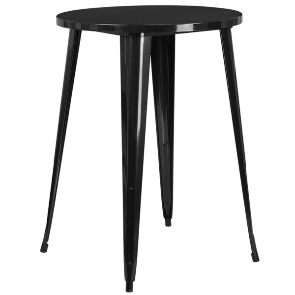 Bar Height Table and Stool Set 30RD Black Metal Bar Set