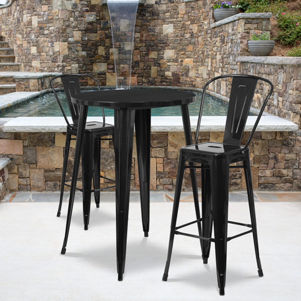Wholesale 30'' Round Black Metal Indoor-Outdoor Bar Table Set with 2 Cafe Stools