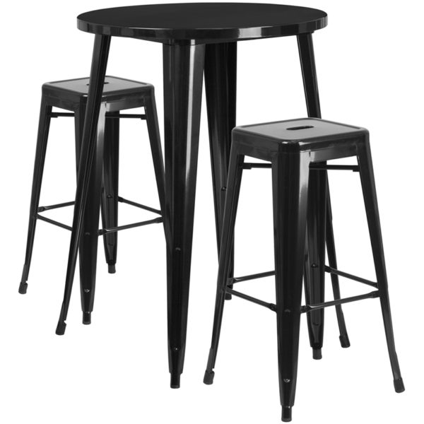 Lowest Price 30'' Round Black Metal Indoor-Outdoor Bar Table Set with 2 Square Seat Backless Stools