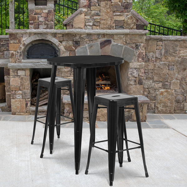 Wholesale 30'' Round Black Metal Indoor-Outdoor Bar Table Set with 2 Square Seat Backless Stools