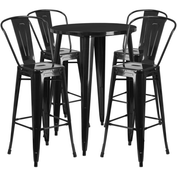 Lowest Price 30'' Round Black Metal Indoor-Outdoor Bar Table Set with 4 Cafe Stools