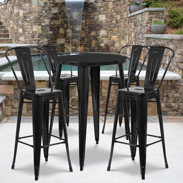 Wholesale 30'' Round Black Metal Indoor-Outdoor Bar Table Set with 4 Cafe Stools
