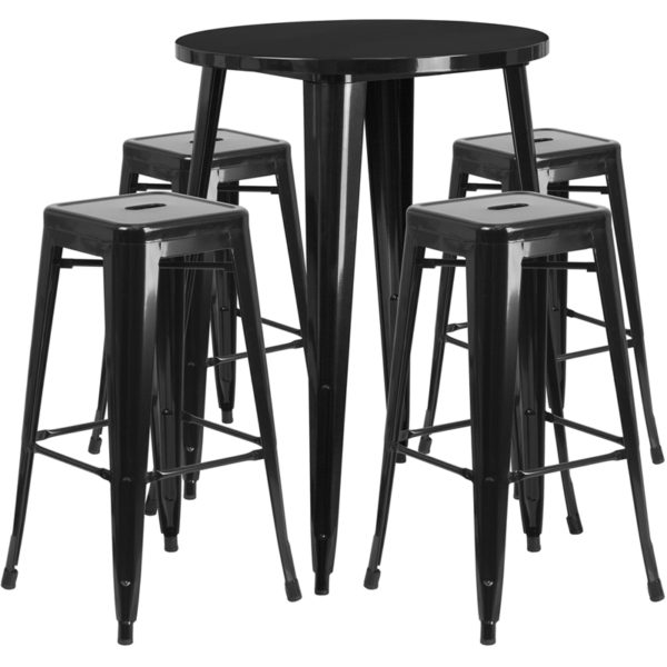 Lowest Price 30'' Round Black Metal Indoor-Outdoor Bar Table Set with 4 Square Seat Backless Stools