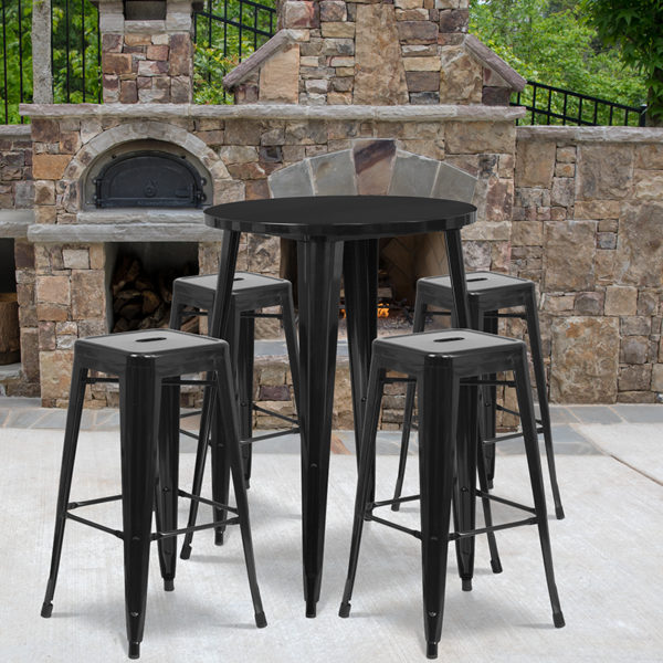 Wholesale 30'' Round Black Metal Indoor-Outdoor Bar Table Set with 4 Square Seat Backless Stools