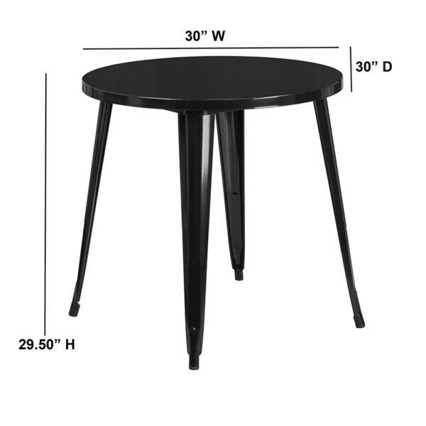 Lowest Price 30'' Round Black Metal Indoor-Outdoor Table