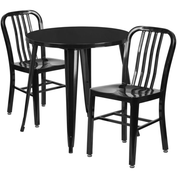 Wholesale 30'' Round Black Metal Indoor-Outdoor Table Set with 2 Vertical Slat Back Chairs