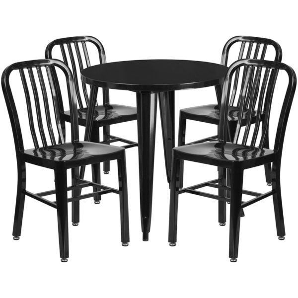 Wholesale 30'' Round Black Metal Indoor-Outdoor Table Set with 4 Vertical Slat Back Chairs