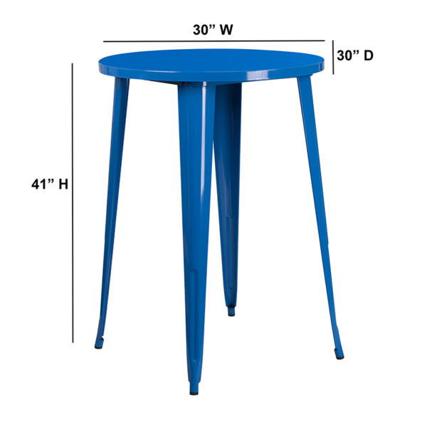 Lowest Price 30'' Round Blue Metal Indoor-Outdoor Bar Height Table