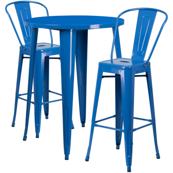 Lowest Price 30'' Round Blue Metal Indoor-Outdoor Bar Table Set with 2 Cafe Stools
