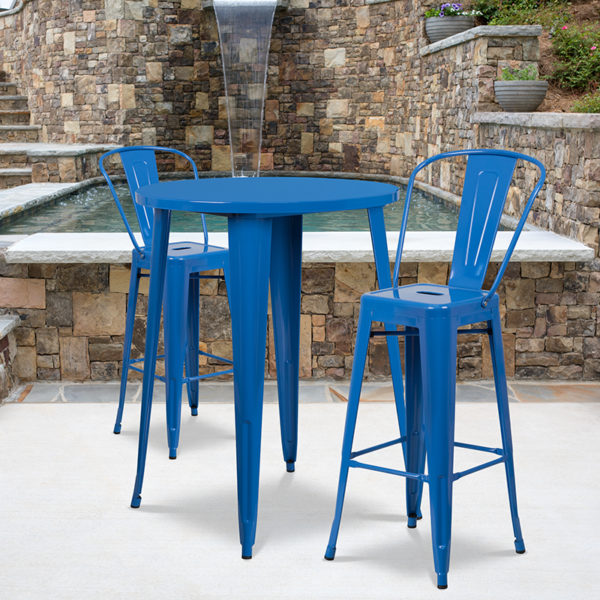 Wholesale 30'' Round Blue Metal Indoor-Outdoor Bar Table Set with 2 Cafe Stools
