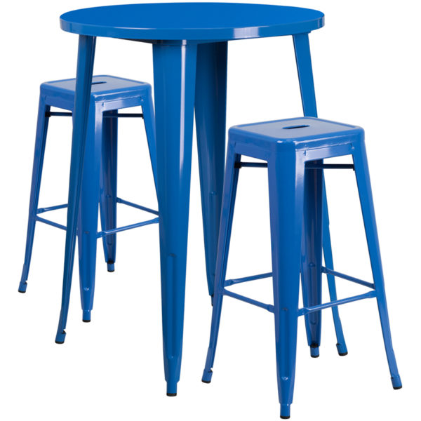 Lowest Price 30'' Round Blue Metal Indoor-Outdoor Bar Table Set with 2 Square Seat Backless Stools