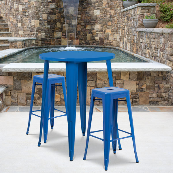 Wholesale 30'' Round Blue Metal Indoor-Outdoor Bar Table Set with 2 Square Seat Backless Stools