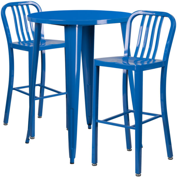 Lowest Price 30'' Round Blue Metal Indoor-Outdoor Bar Table Set with 2 Vertical Slat Back Stools