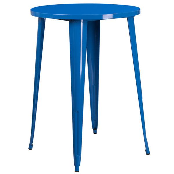 Bar Height Table and Stool Set 30RD Blue Metal Bar Set