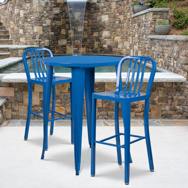 Wholesale 30'' Round Blue Metal Indoor-Outdoor Bar Table Set with 2 Vertical Slat Back Stools