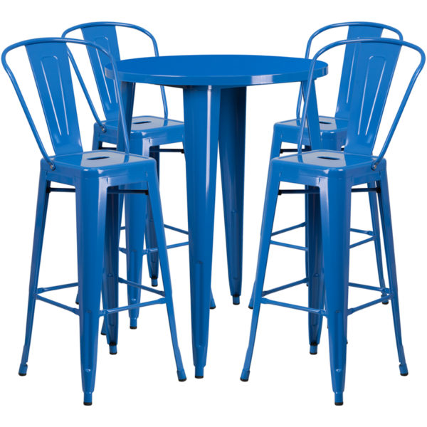 Lowest Price 30'' Round Blue Metal Indoor-Outdoor Bar Table Set with 4 Cafe Stools