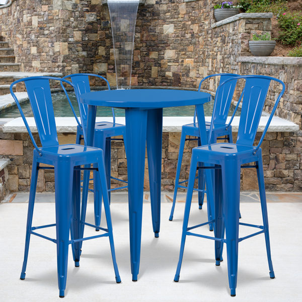 Wholesale 30'' Round Blue Metal Indoor-Outdoor Bar Table Set with 4 Cafe Stools
