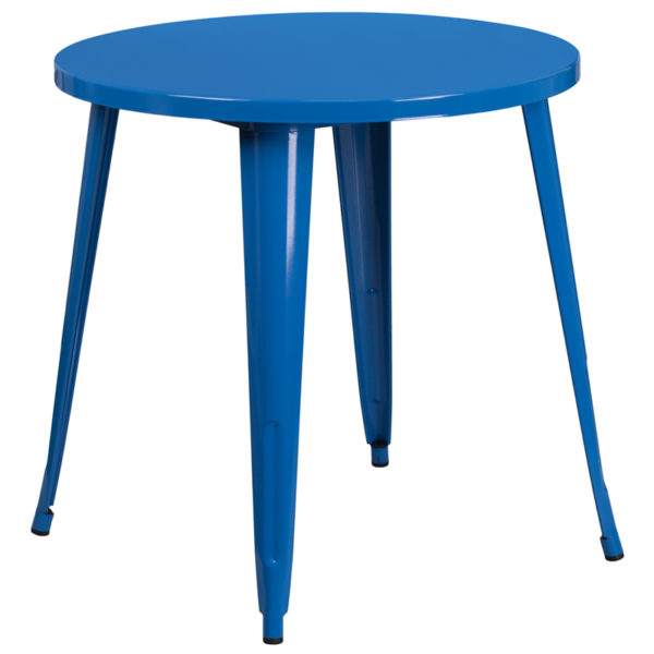 Wholesale 30'' Round Blue Metal Indoor-Outdoor Table