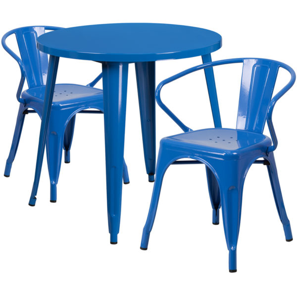 Wholesale 30'' Round Blue Metal Indoor-Outdoor Table Set with 2 Arm Chairs