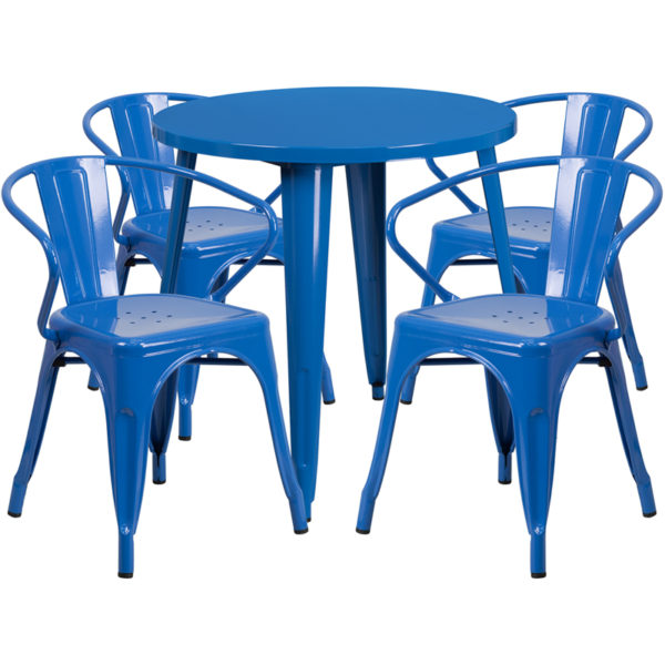Wholesale 30'' Round Blue Metal Indoor-Outdoor Table Set with 4 Arm Chairs