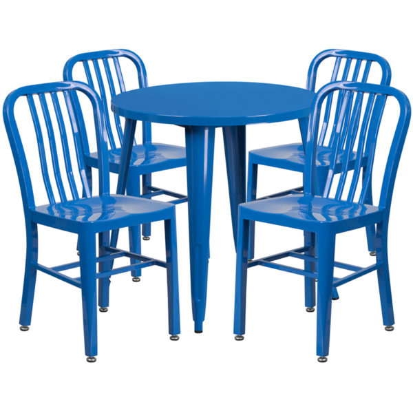 Wholesale 30'' Round Blue Metal Indoor-Outdoor Table Set with 4 Vertical Slat Back Chairs