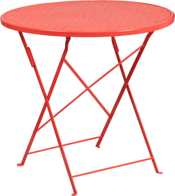 Wholesale 30'' Round Coral Indoor-Outdoor Steel Folding Patio Table