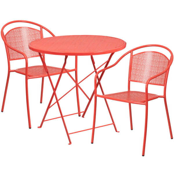 Wholesale 30'' Round Coral Indoor-Outdoor Steel Folding Patio Table Set with 2 Round Back Chairs