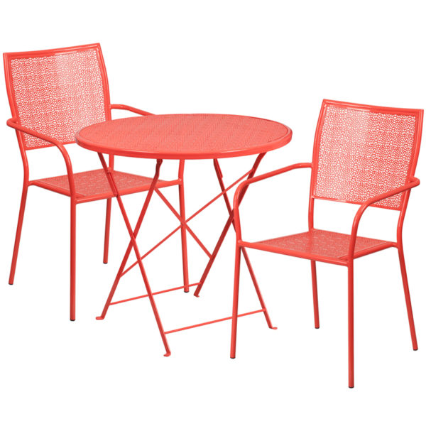 Wholesale 30'' Round Coral Indoor-Outdoor Steel Folding Patio Table Set with 2 Square Back Chairs