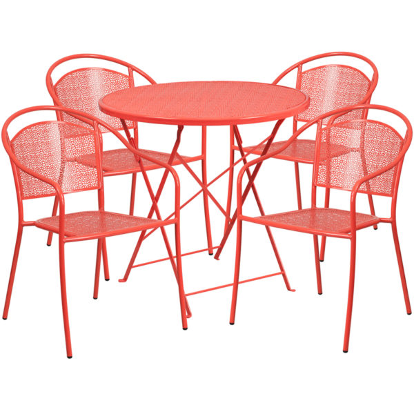 Wholesale 30'' Round Coral Indoor-Outdoor Steel Folding Patio Table Set with 4 Round Back Chairs