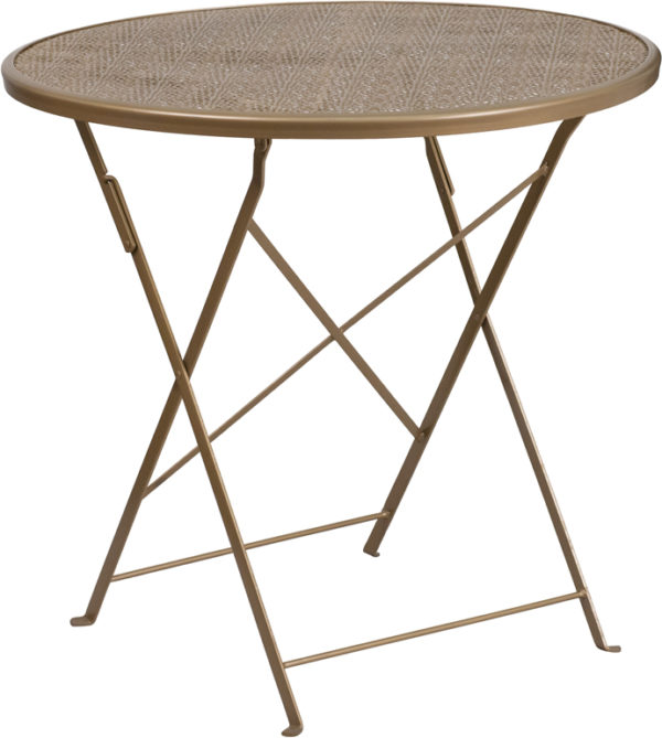 Wholesale 30'' Round Gold Indoor-Outdoor Steel Folding Patio Table
