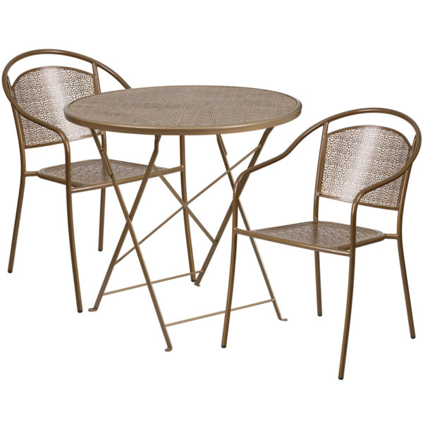 Wholesale 30'' Round Gold Indoor-Outdoor Steel Folding Patio Table Set with 2 Round Back Chairs