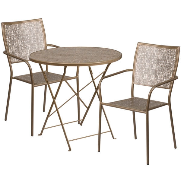 Wholesale 30'' Round Gold Indoor-Outdoor Steel Folding Patio Table Set with 2 Square Back Chairs