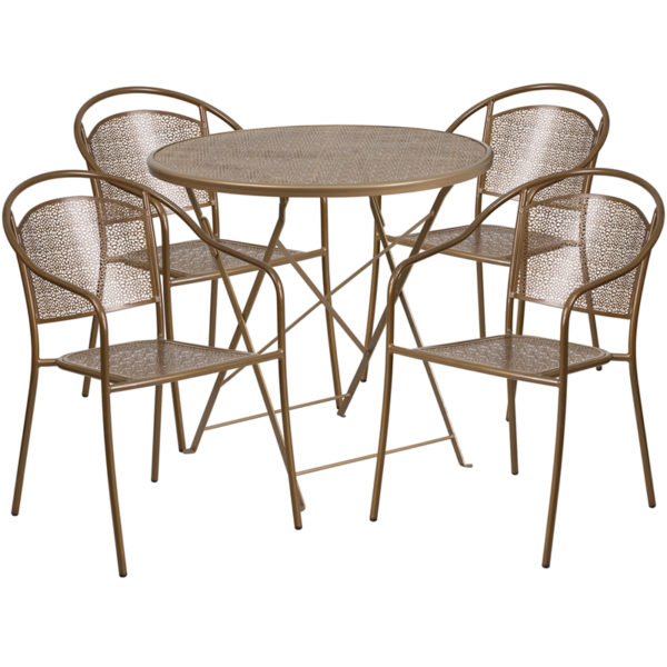 Wholesale 30'' Round Gold Indoor-Outdoor Steel Folding Patio Table Set with 4 Round Back Chairs