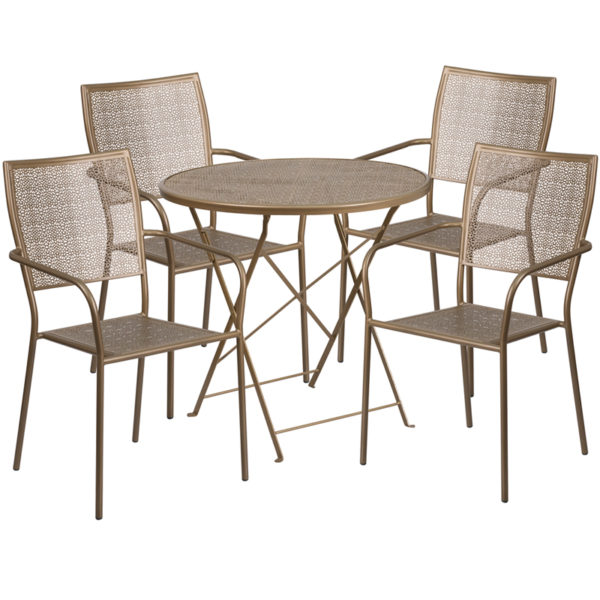 Wholesale 30'' Round Gold Indoor-Outdoor Steel Folding Patio Table Set with 4 Square Back Chairs
