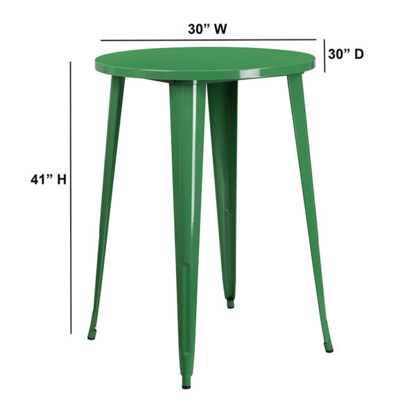 Lowest Price 30'' Round Green Metal Indoor-Outdoor Bar Height Table