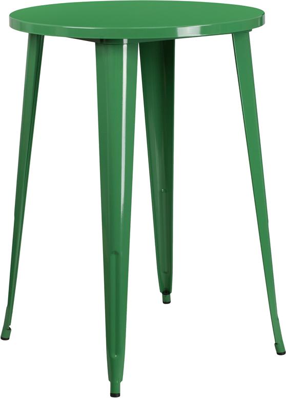 Wholesale 30'' Round Green Metal Indoor-Outdoor Bar Height Table